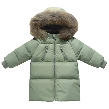 Echinodon Baby Kinder Daunenjacke mit Fellkapuze Lang Jacke Winter Jungen Mädchen Winterjacke