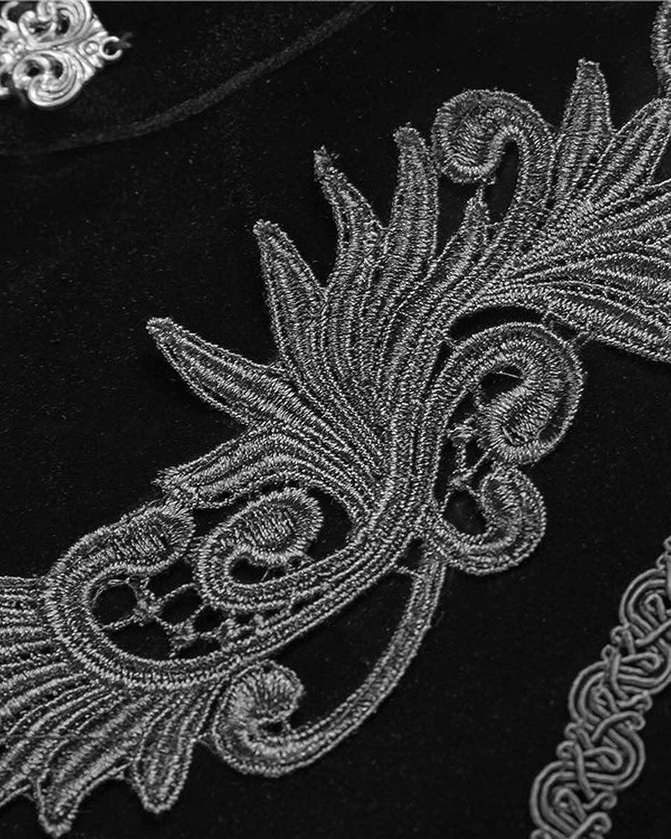 Dark In Love Femmes Gothique Cape /Étole Velours Noir Steampunk Vintage Victorien Cape