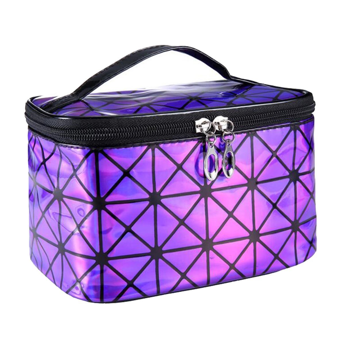 Women Portable Travel Cosmetic Bag Makeup Bag Waterproof PU Leather Handy Toiletry Bag Purple