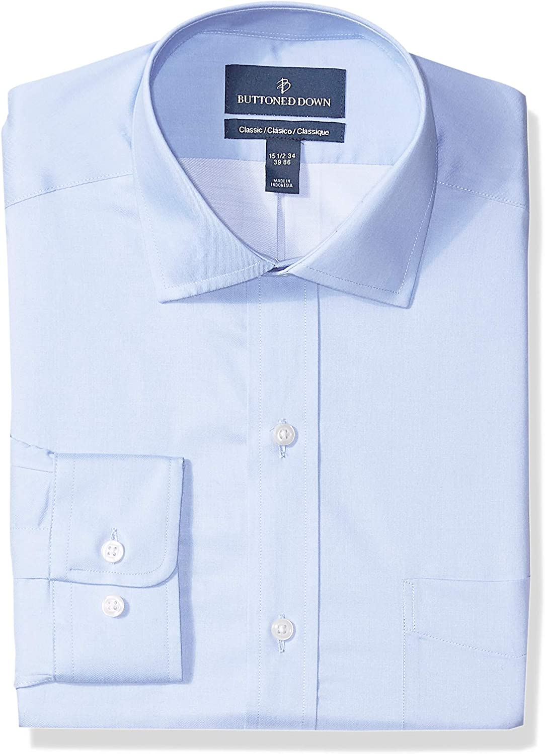BUTTONED DOWN Mens Classic Fit Spread-Collar Supima Cotton Dress Casual Shirt Brand