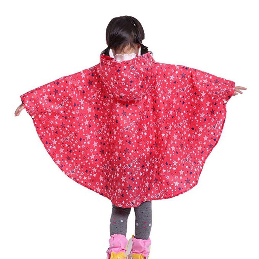 wuxi Filles /À Capuche Imperm/éable Enfants Imperm/éable Pluie Poncho Enfants V/êtements de Pluie Cape avec Sac de Rangement Portable