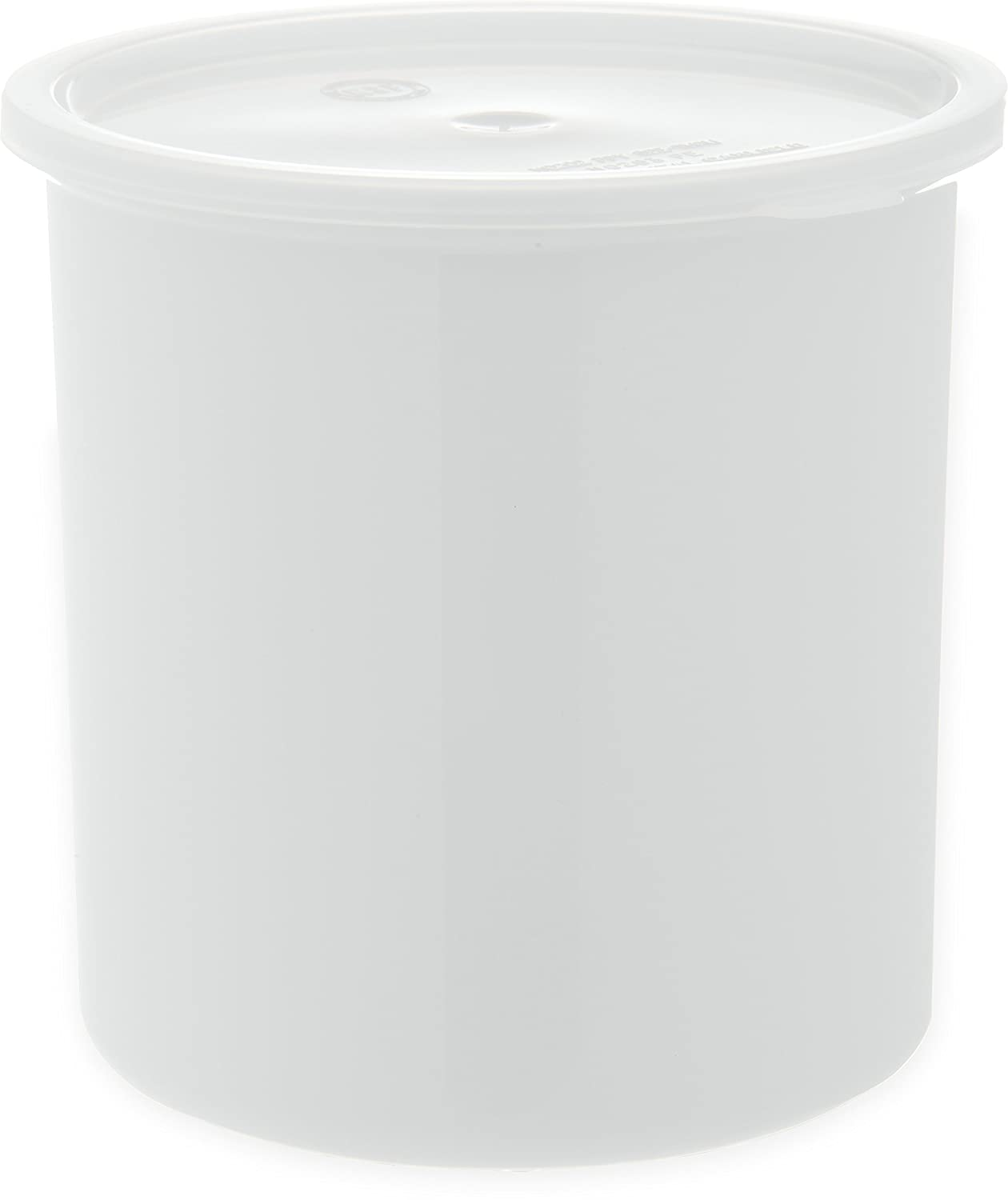 Carlisle 030202 Solid Color Commercial Round Storage Container with Lid, 2.7 Quart Capacity, White