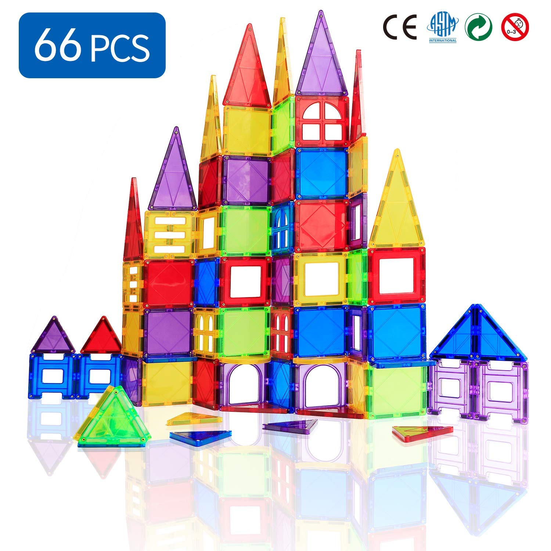 Magblock 66 PCS Magnetic Building Blocks, Magnetic Tiles for Kids Toys丨Magnet Toys Set 3D Building Blocks for Toddler Boys and Girls by Magblock (Image #1)