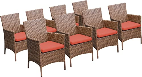 TK Classics Laguna 8 Piece Dining Chairs with Arms, Tangerine