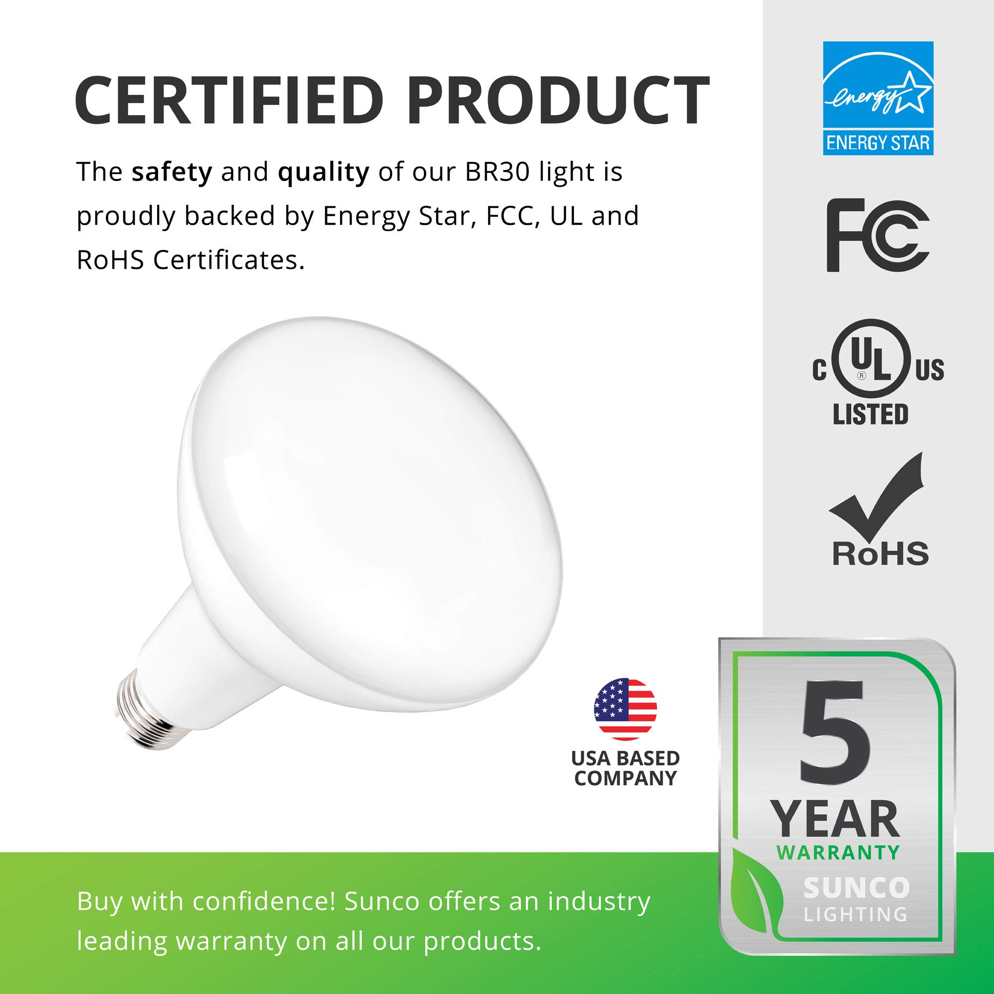 Sunco Lighting 48 Pack BR30 LED Bulb 11W=65W, 2700K Soft White, 850 LM, E26 Base, Dimmable, Indoor Flood Light for Cans - UL & Energy Star by Sunco Lighting (Image #6)