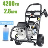 TEANDE 4200PSI Gas Pressure Washer 2.8GPM Gas Powered Power Washer, High-Pressure Hose, 212CC Power Engine for Vehicle, Garden, Ground (Black)