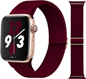 Acrbiutu Stretchy Solo Loop Nylon Bands Compatible with Apple Watch 38mm 40mm 42mm 44mm, Adjustable Braided Stretch Elastics Strap for iWatch Series 6/5/4/3/2/1 SE, Wine Red 42mm/44mm