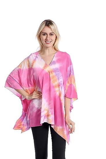 34845d84f70366 Women Girls Tie Dye Ocean Print V Neck Crew Boat Neck Fuchsia Poncho ...