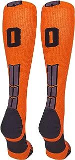 product image for MadSportsStuff Orange and Black Player ID Custom Number Over The Calf Socks for Softball Baseball Football Boys and Girls