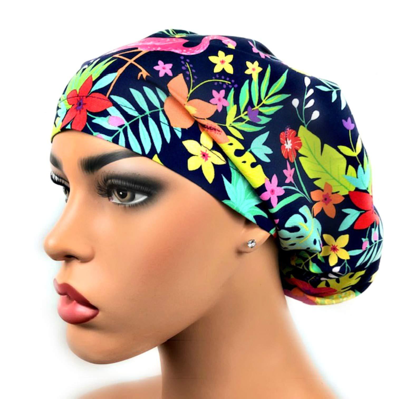 Womens Surgical Scrub Hat OR Nurse Cap European Style Blue Tropical Flamingo by DK Scrub Hats