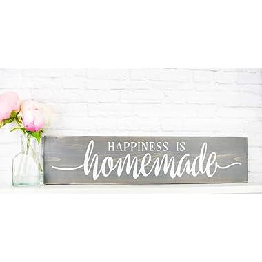 Grey Happiness Is Homemade - Rustic Handmade Farmhouse Wood Wall Decor