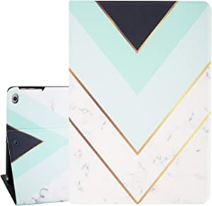 Hi Space White Marble Green iPad 9.7 Case for Girl Women Boy Men, Cute iPad 5th / 6th Gen Case Cover 2017 2018 Mint, Gold Strip Marbling Back Protector Cover Auto Sleep Wakeup for iPad 9.7