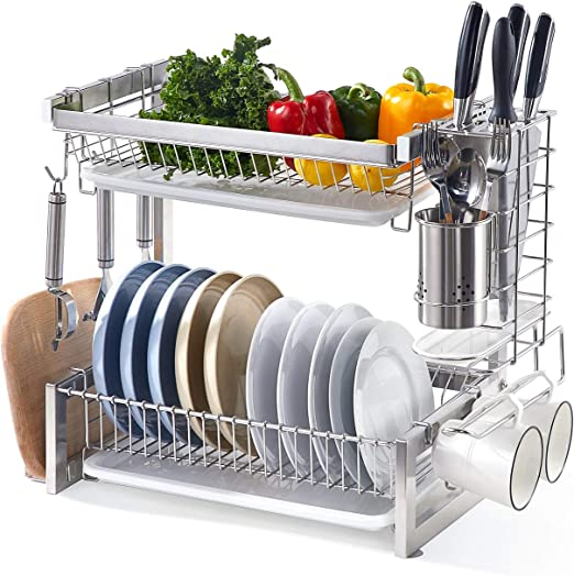 Istboom 2 Tier Dish Drying Rack Stainless Steel Dish Drainer Multi Functional Kitchen Counter Organizer Drainboard Utensil Holder Cutting Board Holder Hooks Kitchen Dining