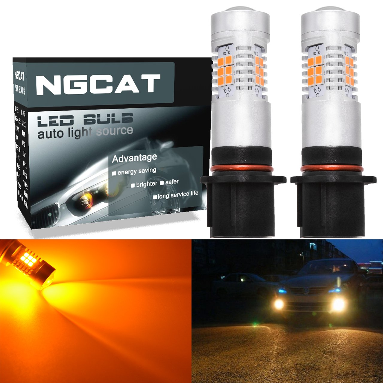 NGCAT Auto LED Bulb 2PCS PSX26W DRL Fog Light Replacement 2835 21 SMD Chipsets car Driving Daytime Running Lights, Amber 10-16V 10.5W