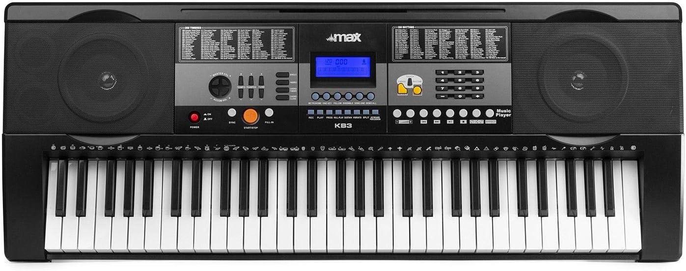 MAX KB3 Teclado electr/ónico piano de 61 teclas con funci/ón Touch con Auricular