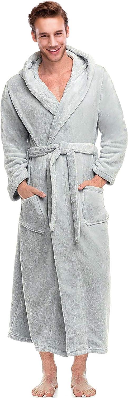 Alimens /& Gentle Mens Hooded Fleece Bathrobe Full Length Warm Plush Robes