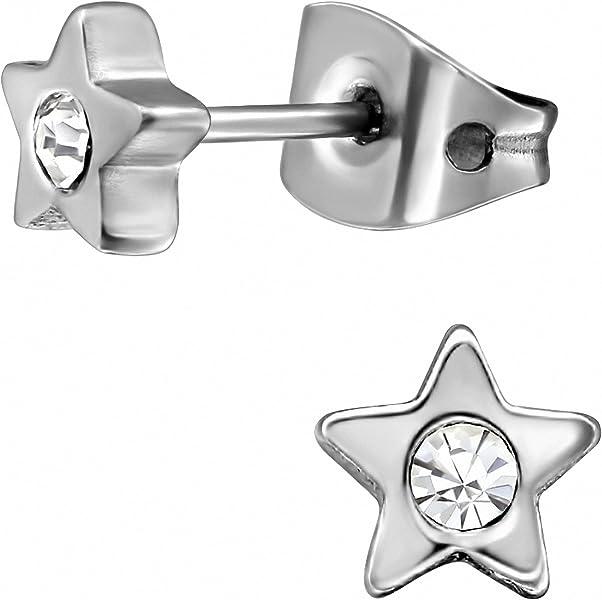 de2b889b0714 EYS Jewelry – Estrellas Mujer Pendientes titanio purpurina de cristales de color  blanco 5 mm Pendientes