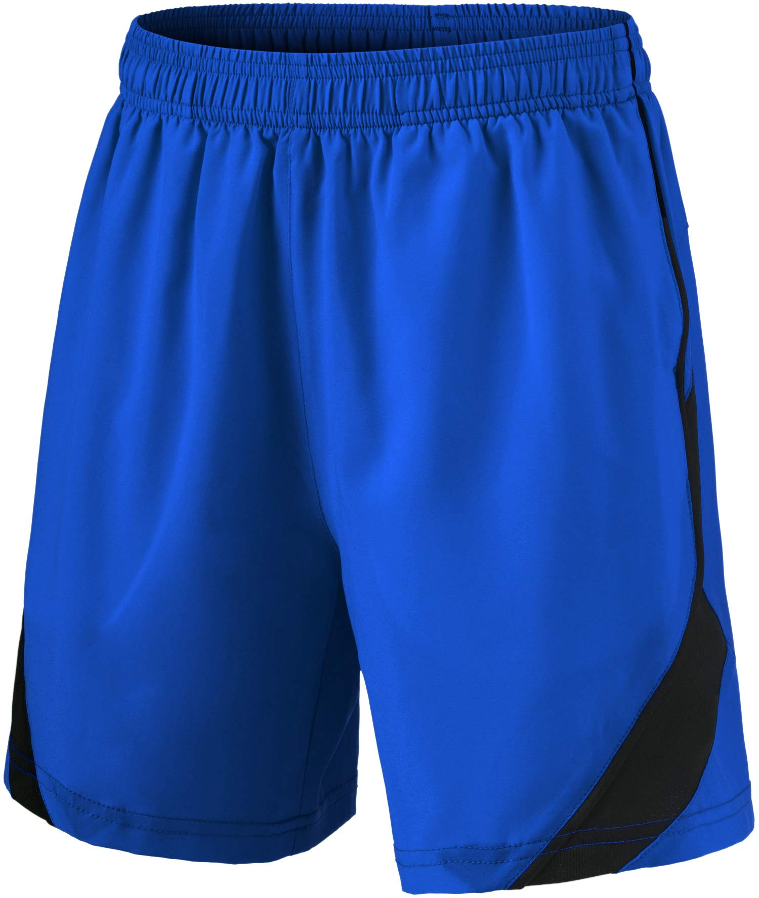 TSLA Boy's Active Shorts Sports Performance Youth HyperDri II w Pockets, Stretch Pace(kbh76) - Blue, Youth X-Large by TSLA