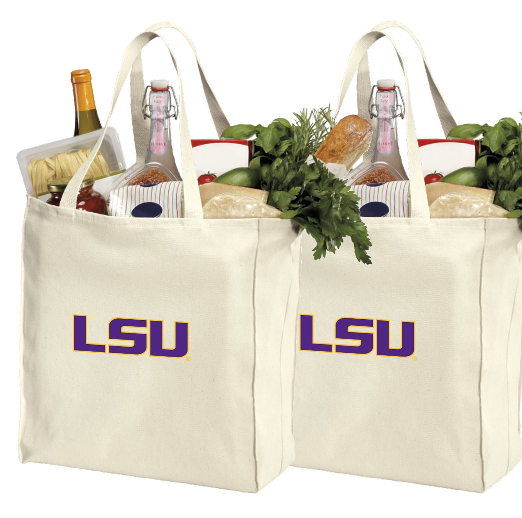 Reusable LSU Tigers Shopping Bags or LSU Grocery Bag 2Pc Set Natural Cotton