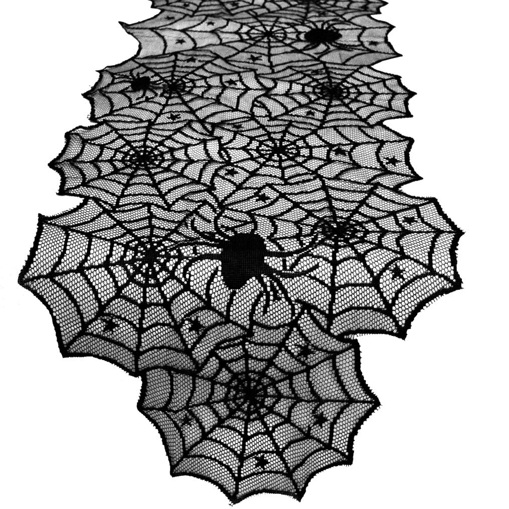 Topbuti Black Lace Spider Web Table Runner Halloween Cobweb Table Runner Tablecover Party Supplies for Halloween Party,D/écor,Dinner 74x18.5