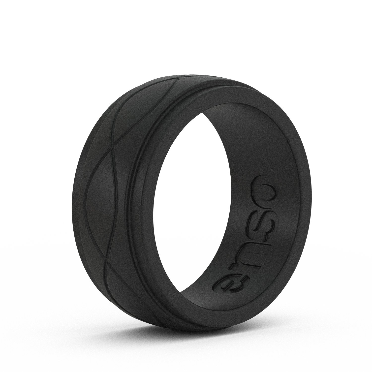 Enso Mens Infinity Silicone Ring, Obsidian Black 10