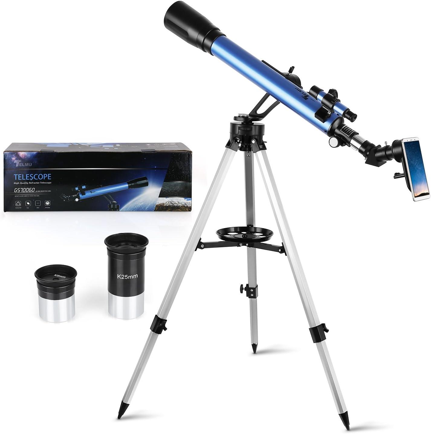 Telescopio Astronómico – 60 / 700 mm televisor K6 mm y K25 mm, visor 5 x 24 y rueda de azimut, visión 360°, apto para amantes principiantes (adaptador para smartphone)