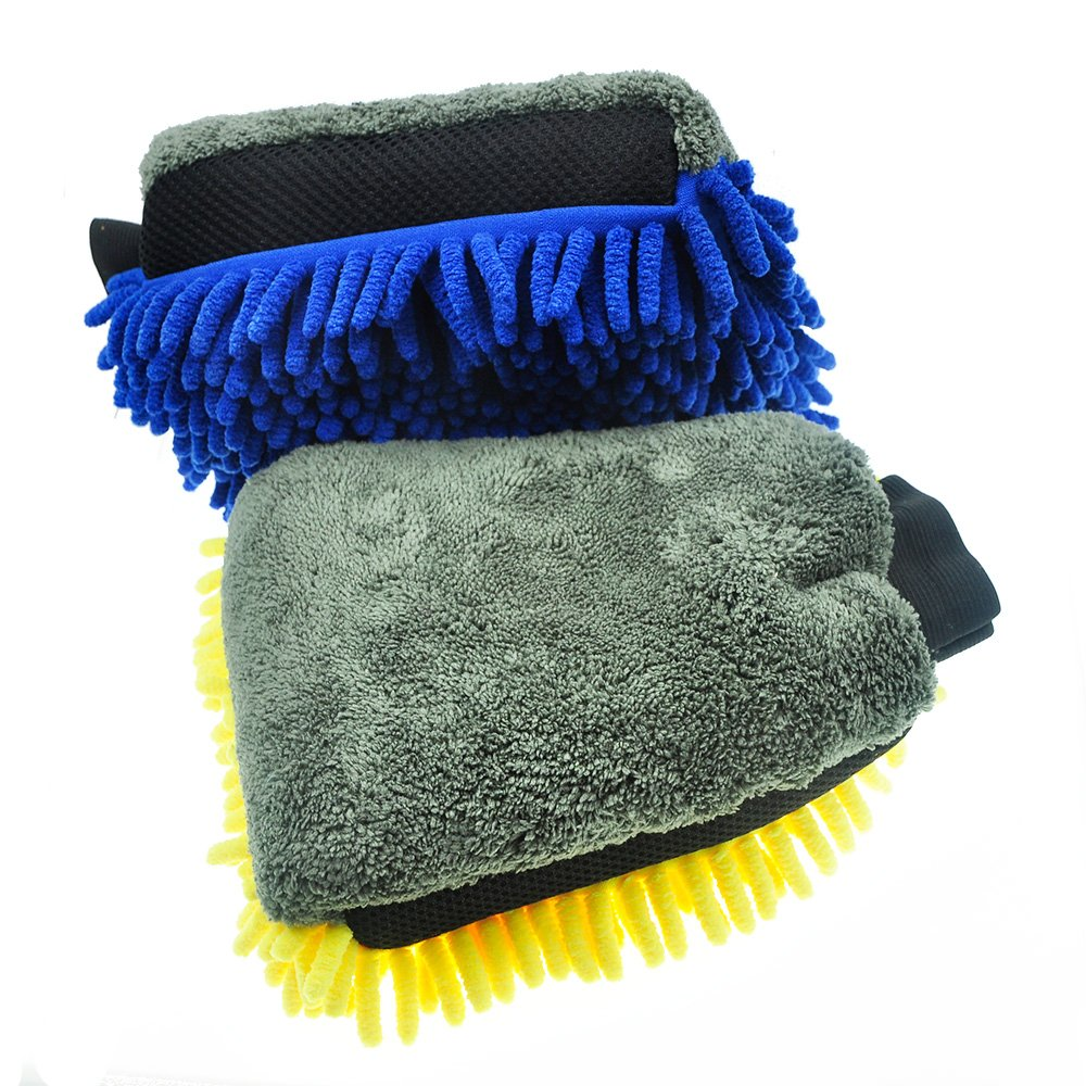 AVA Prime 3 in 1 Water-Proof Microfiber Chenille Wash Mitt Dual-Faced with Bug Removal Mesh (Blue+Yellow)