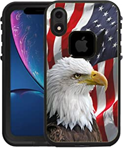 Teleskins Protective Designer Vinyl Skin Decals/Stickers Compatible with iPhone Xr Lifeproof Fre Case -Bald Eagle American Flag Design Patterns - only Skins and not Case