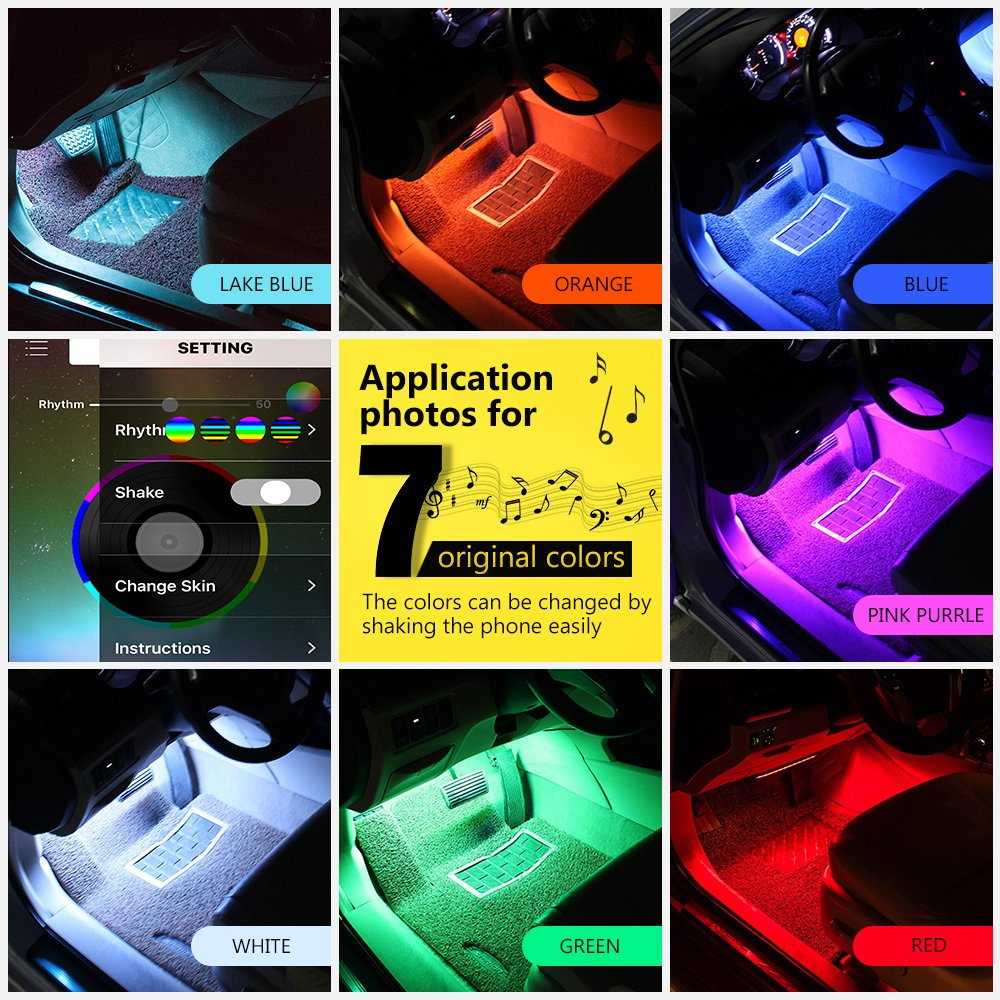 wsiiroon 4332998585 4pcs 48 LED Bluetooth App Controller Interior Multi Color Music Car Strip Dash Lighting Kit with Sound Active Function for iPhone Android Smart Phone