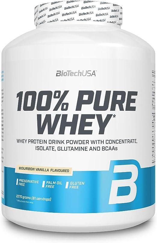 BioTechUSA 100% Pure Whey Complejo de proteína de suero, con aminoácidos añadidos y edulcorantes, sin conservantes, 2.27 kg, Vainilla Bourbon