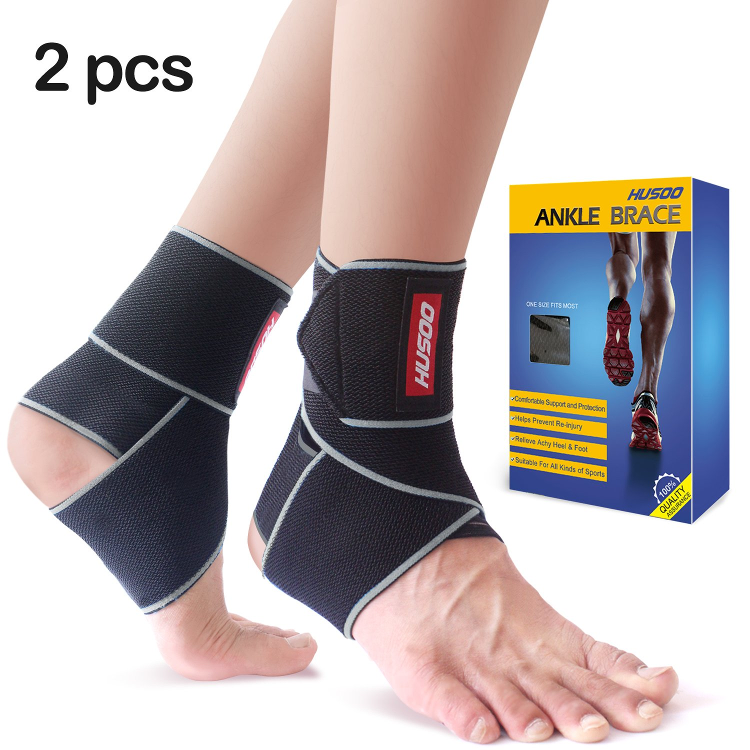 754fe24e69 Ankle Brace, Husoo Breathable Ankle Support with Anti-Bacterial Fabric, Compression  Ankle Wrap for Sports Protect, Ankle Sprain, Plantar Fasciitis, ...
