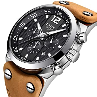 04ef6dfa35e LIGE Mens Watches Fashion Waterproof Sports Analog Quartz Watch with  Military Chronograph Large Dial Brown Leather