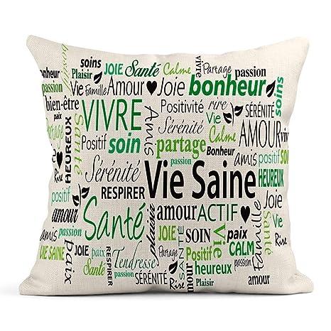 Kinhevao Cojín Verde Positivo Francés Estilo de Vida ...