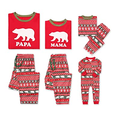 c53cf70ed4 Amazon.com  PatPat Matching Family Pajamas Set Holiday Bear Printed Pjs Two  Piece Sleepwear Mother Father Kids Red  Clothing