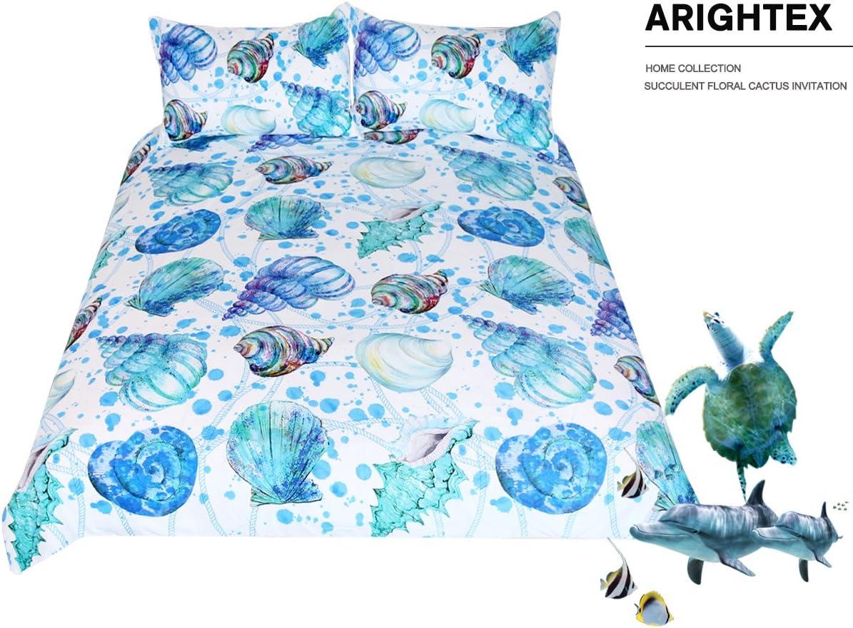 Kingtex ARIGHTEX Seashell Bed Sets 2 Piece Coastal Beach Themed Bedding Duvet Cover Boys Girls Aqua Spiral Turquoise Conch Shell Bedspread Twin