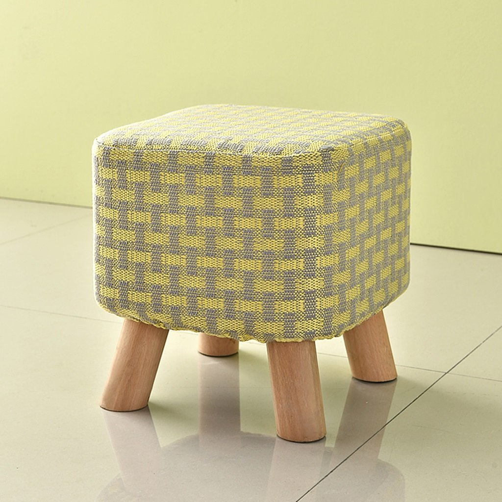 Duzhengzhou Cube Storage Stool Decorative Seating (Color : Gray yellow strips)