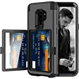 DOMAVER Galaxy S9 Plus Case with Wallet Card Slot Holder and Mirror Hybrid Hard Plastic Soft TPU Rubber Heavy Duty Shockproof Protective Cell Phone Case Cover for Samsung Galaxy S9 Plus,Black