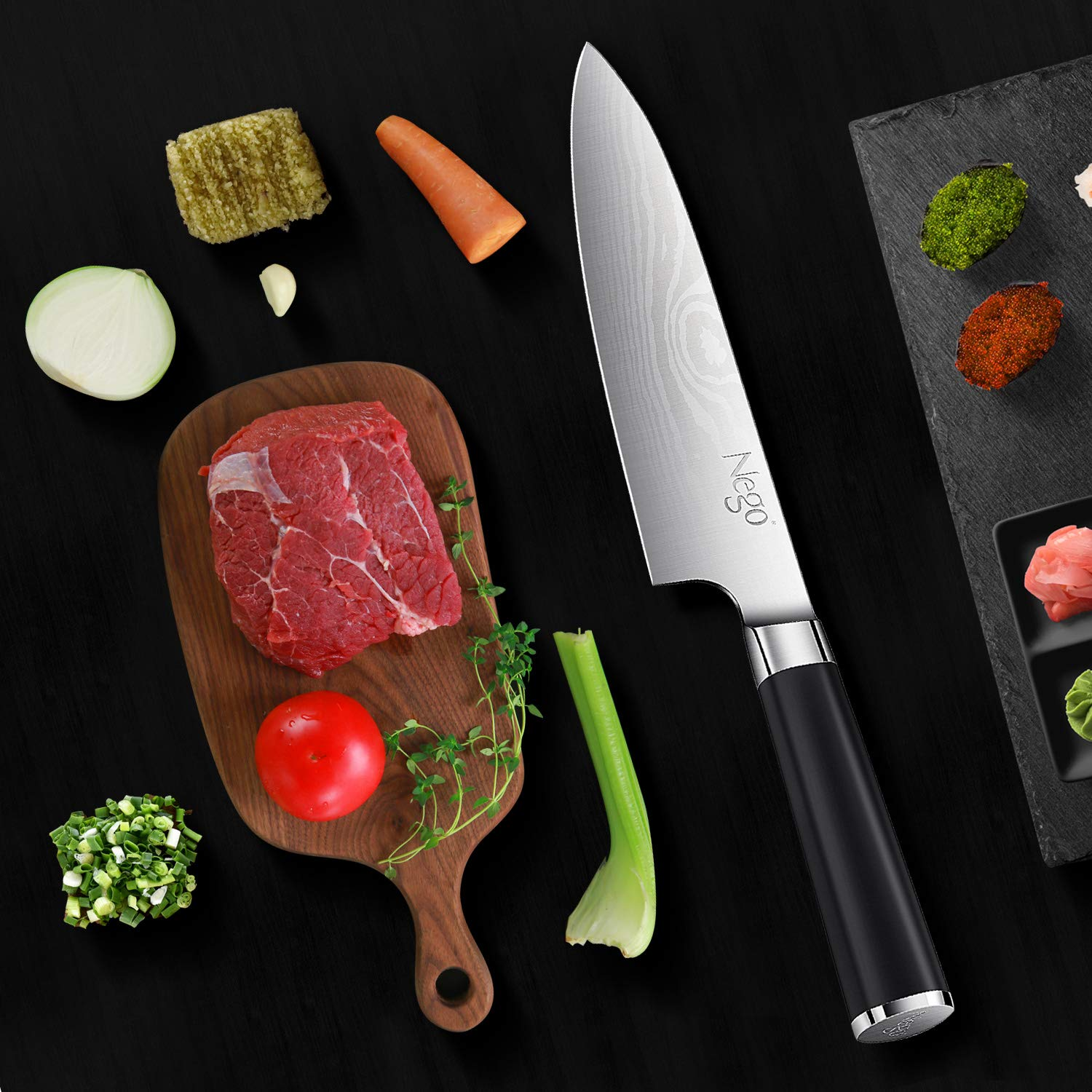 Chef Knife - Pro Chef knives 8 inch Cooking knife, German High Carbon Stainless Steel Razor Sharp Blade Stain Resistant, Best Choice for Restaurant and Home Kitchen by Nego (Image #6)