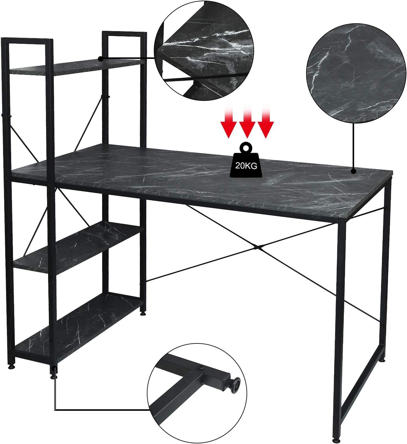 EUGAD 0088ZZ Table de Bureau Meuble Informatique de Travail avec /étag/ères de Rangement en Bois et m/étal 120x64x120cm,Noir+marbre Noir