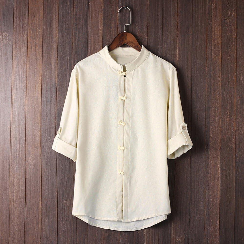 Hombres Camisa cl/ásica de Estilo Chino de Kung Fu Tops Tang Traje 3//4 Manga Blusa Blusas de Hombre Tallas Grandes