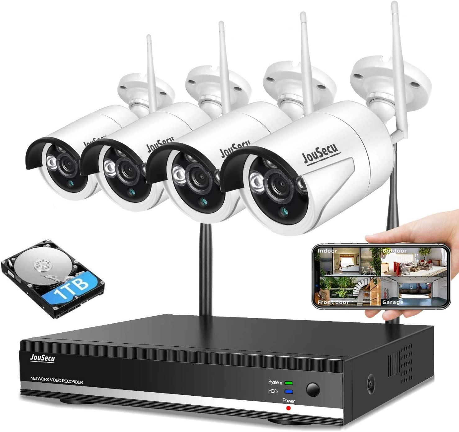 Home Security Camera System Wireless Surveillance NVR Kit with 8CH NVR 4Pcs 1080P 1-Way Audio Night Vision Remote View Motion Detection Waterproof with 1TB Hard Drive