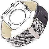 Bandmax Watch Band Nylon Gewebe Denimstoff Ersatzarmband mit Gürtelschnalle Uhrenarmband für 38MM Apple Watch Series 2/ Series 1(Streifen)