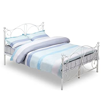 Mecor 4ft Small Double White Metal Bed Frame With Crystal Finials