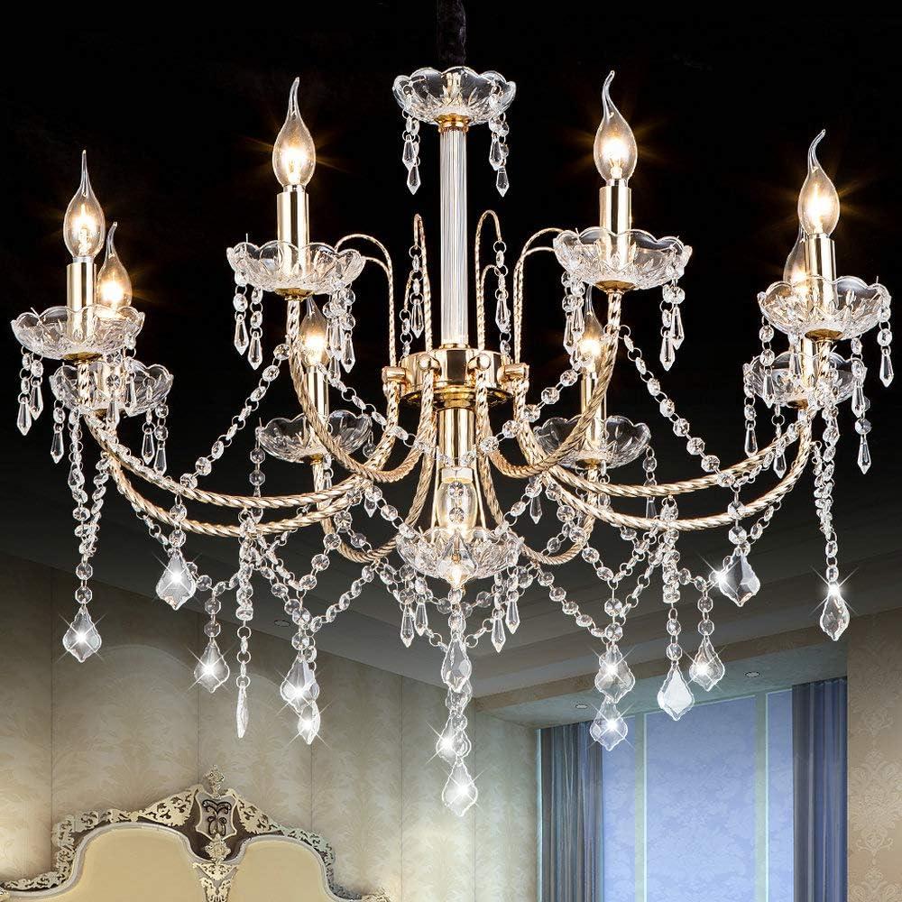Crystal Chandeliers Lighting Fixture Ceiling Lights Fixture with Adjustable Height 9 Lights for Dining Room Chandelier, Corridor, Indoor, Modern Furniture For Living Room, Bedroom, Golden