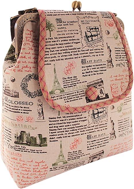 Las niñas Vintage periódico patrón bolsa de hombro Messenger ...