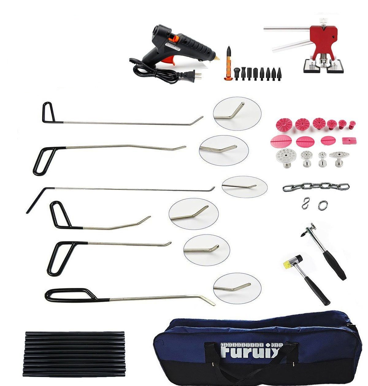 Furuix PDR Tool Kit with PDR Rods Glue Gun Dent Lifter Tap Down Hammer Paintless Dent Repair Tools Dent Removal Car Dent Puller Auto Body Tools by Furuix (Image #9)