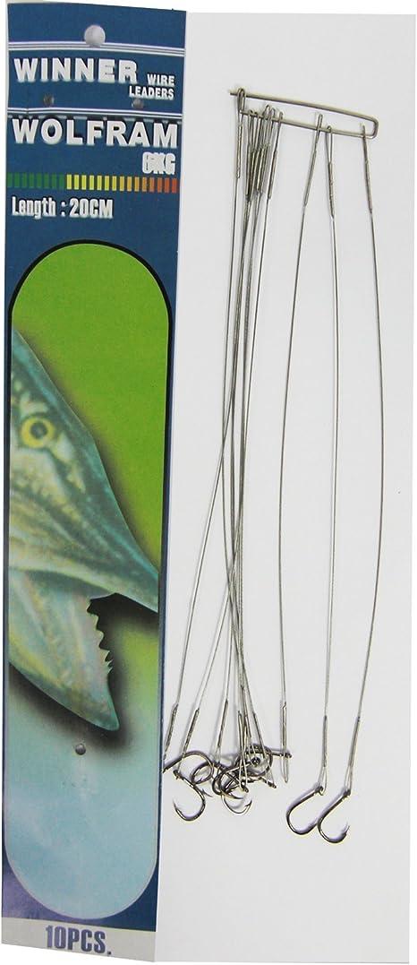 2 x Stahlvorfach 35cm mit Doppelhaken #4 und Schlaufe Zandervorfach Hechtvorfach