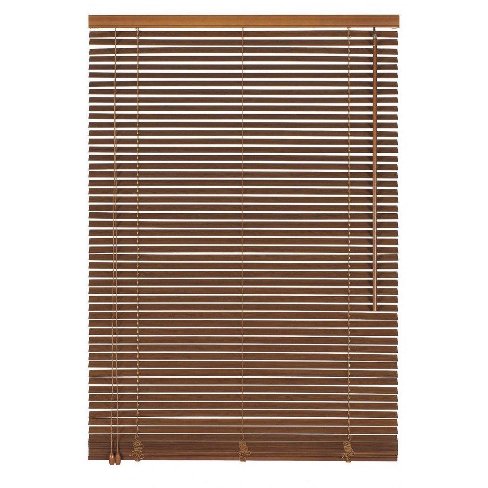 Easy-Shadow Holzjalousie Holz-Jalousie Bambus Jalousette Echtholz Rollo Jalousette 115 x 130 cm   115x130 cm in Farbe teak - Bedienseite links    Maßanfertigung