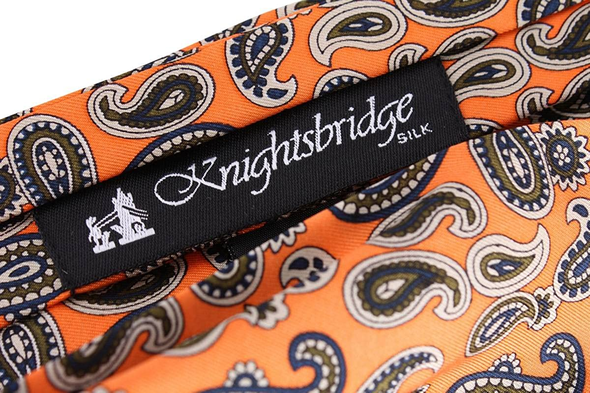 Orange Knightsbridge Neckwear Mens Paisley Silk Cravat