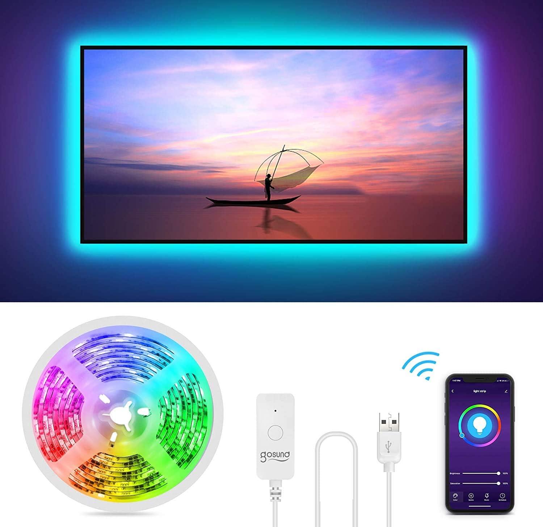 Gosund Tira Led Wifi USB para TV/PC, Sincronizar con Música, Compatible con Alexa/Google Home, Control Remoto para Ajustar Múlticolores y Brillo, Retroiluminación LED RGB Inteligente con 8 Modo Escena